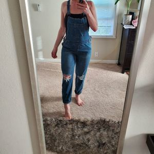 Forever 21 distressed overalls vsco 90s vibe small